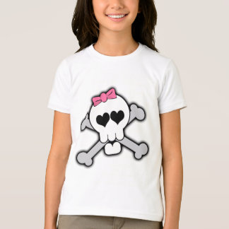 Pink Skull and Crossbones with Hearts and Bow T-Shirt