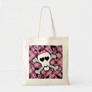 Pink Skull and Crossbones with Hearts and Bow Tote Bag
