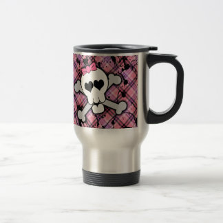 Pink Skull and Crossbones with Hearts and Bow Travel Mug