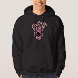 Pink Skull and Flower Circles Hoodie