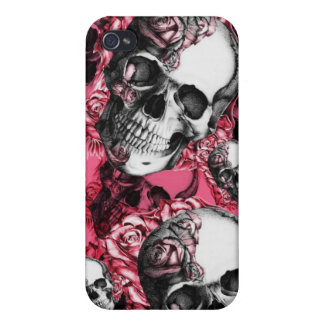 Pink Skull and Roses I Phone Case iPhone 4 Covers
