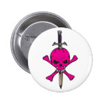 Pink Skull and Sword Pinback Buttons