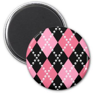 Pink Skull Argyle 2 Inch Round Magnet