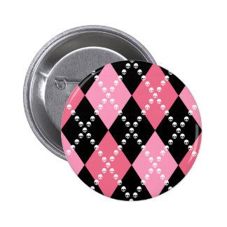 Pink Skull Argyle 2 Inch Round Button