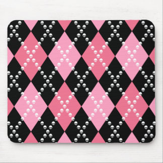 Pink Skull Argyle Mouse Pad