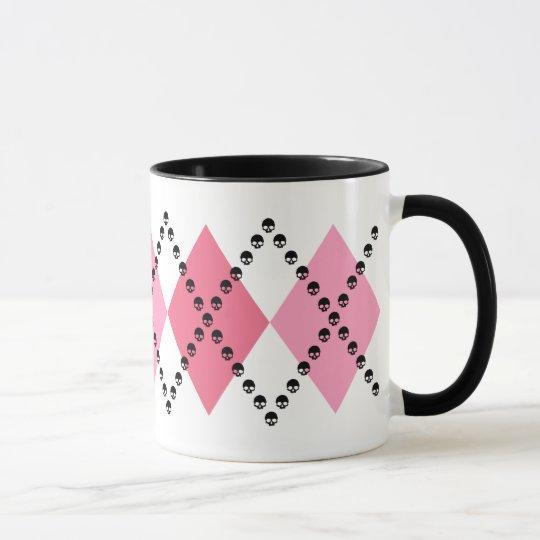 Pink Skull Argyle Mug