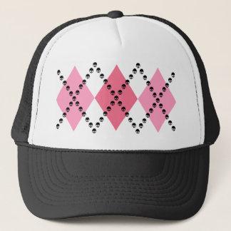 Pink Skull Argyle Trucker Hat
