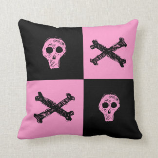 pink skull black and pink checker board  pattern throw pillows