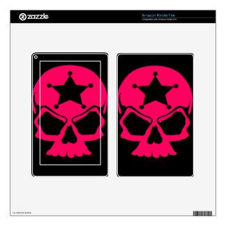 Pink Skull (black background) Decals For Kindle Fire