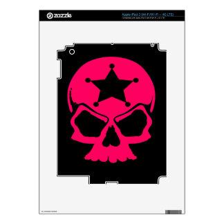 Pink Skull (black background) iPad 3 Decals