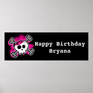 Pink Skull & Bones Girls Birthday Party Banner Poster