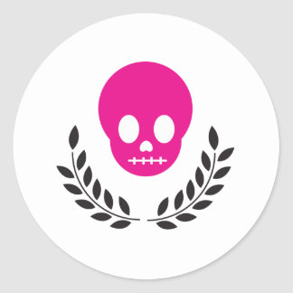 Pink Skull Classic Round Sticker