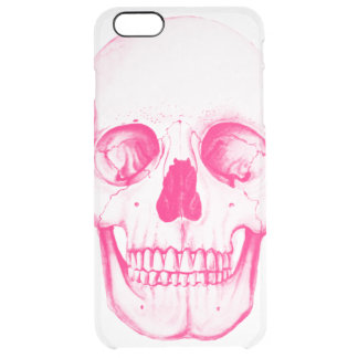 Pink Skull Clear iPhone 6 Plus Case
