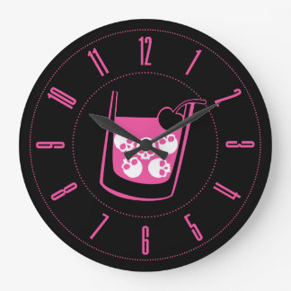 Pink Skull Cocktail Wall Clocks