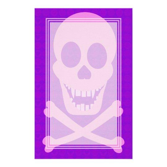 Pink Skull & Crossbones Blank Stationery
