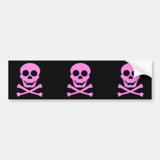 Pink Skull & Crossbones Bumpersticker Car Bumper Sticker