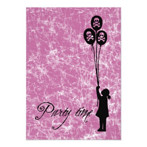 Pink - Skull & Crossbones Party Time Balloon Girl 5x7 Paper Invitation Card