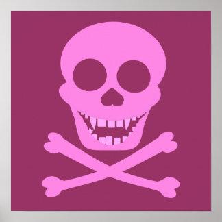 Pink Skull & Crossbones Poster