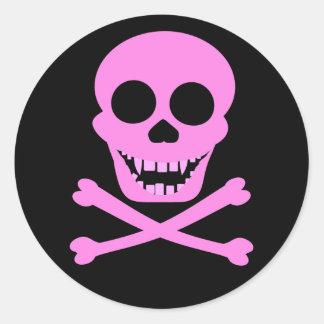 Pink Skull & Crossbones Stickers