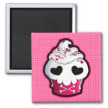 Pink Skull Cupcake 2 Inch Square Magnet