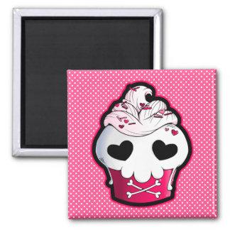 Pink Skull Cupcake 2 Inch Square Magnet