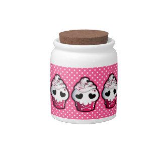 Pink Skull Cupcake Candy Jar
