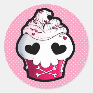 Pink Skull Cupcake Classic Round Sticker