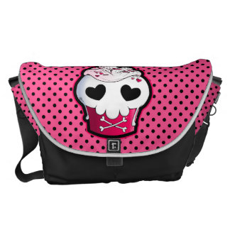 Pink Skull Cupcake Courier Bag