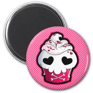 Pink Skull Cupcake Magnet