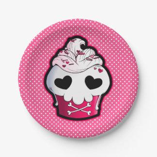 Pink Skull Cupcake Paper Plate