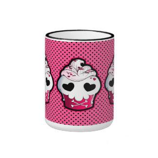 Pink Skull Cupcake Ringer Mug