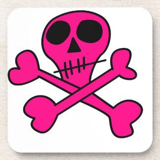 pink skull drink coaster