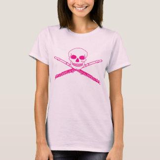 Pink Skull Flute Music Tee Shirt Gift