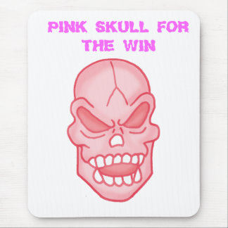 PINK SKULL FOR THE WIN MOUSE PAD