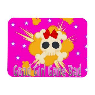 Pink skull  good girl gone bad magnet with stars
