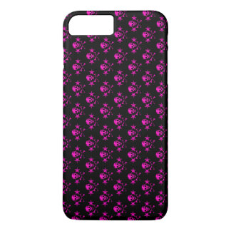 pink skull heads with stars and cross bones iPhone 7 plus case