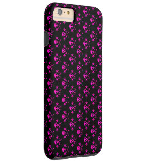 pink skull heads with stars and cross bones tough iPhone 6 plus case