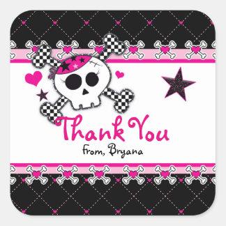 Pink Skull, Heart & Crossbones Party Favor Sticker