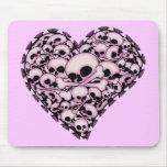 Pink Skull Heart Mousepads