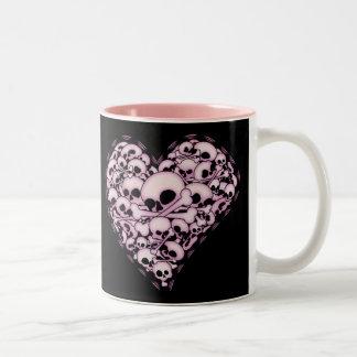 Pink Skull Heart Two-Tone Coffee Mug
