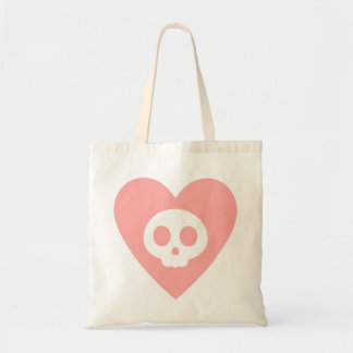 Pink Skull Inside a Heart Cartoon Tote Bag