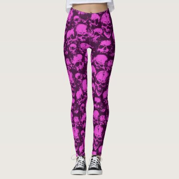 Halloween Themed Pink Skull Leggings