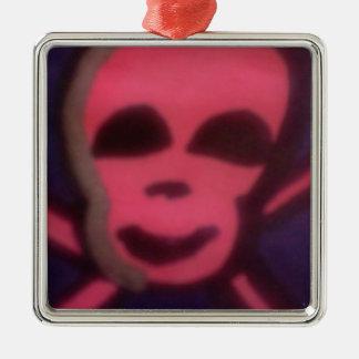 pink skull metal ornament