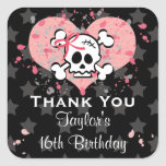 PInk Skull Party Favor Stickers