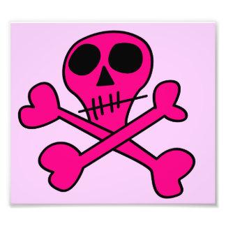 pink skull photo print