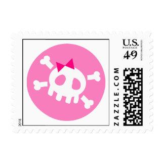 Pink Skull Postage Stamp
