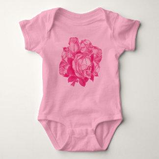 Pink Skull Roses Bouquet Baby Bodysuit
