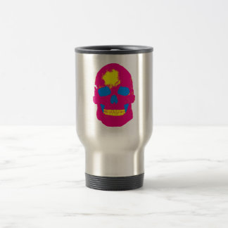 Pink Skull Silk Screen Travel Mug