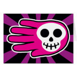 Hand shaped Pink Skull Smile Card