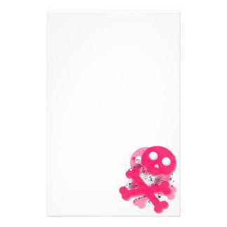 Pink skull stationary paper stationery